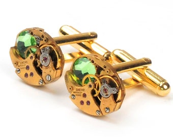 Steampunk Vintage Gold Watch Movement and Peridot Crystal Cuff Links