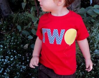 Birthday Shirt -One Year Old Birthday Shirt, Two Year Old Birthday shirt or Four Year Old Birthday shirt- Birthday Balloon Shirt
