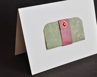 Blank Note Card, handbag, feminine, red and green, embellished greeting card, purse themed