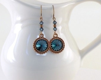 Montana Blue Earrings - Antique Copper Earrings - Rivioli Earrings - Blue Earrings - Swarovski Earrings - Long Earrings - Wire - E070