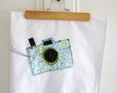 Flour Sack Tea Towel // Applique Camer // Photography Lover // Boho Style // 100% Cotton // Blue Floral // Vintage style // Housewares