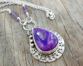 Purple Druzy Pendant/ Necklace, Sterling Silver, Gemstone Pendant, Purple Bezel Set Stone, Large Statement Necklace