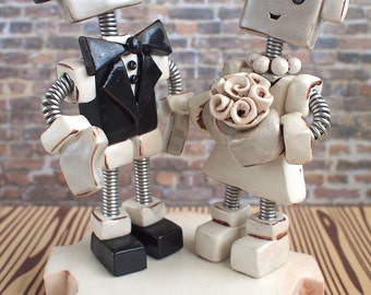 Robot Wedding Cake Topper MADE TO ORDER Rustic Shabby Chic Bots 4 inch - Clay, Wire, Paint