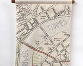 South Bank London Embroidered Map Wall Hanging
