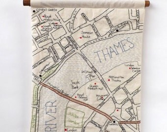 South Bank, River Thames and Covent Garden Central London Hand Embroidered Map Wall Hanging, A3 Size