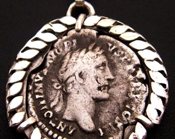 Authentic Ancient Silver Roman Coin Mounted in Sterling Silver Pendant