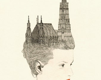 "Cathedral hair art print Fashion Illustration by Anna Higgie Illustration 9"" x 6"""