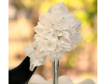 Shoe Clip Off White / Ivory / Black Ruffle. Flower & Rhinestone Gem Shoe Clip. Bride Bridal Bridesmaid Party, Spring Wedding, FashionCouture