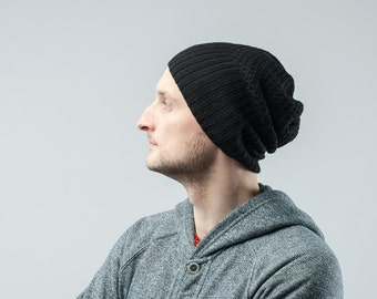 knitted beanie hat for men cashmere merino wool color black