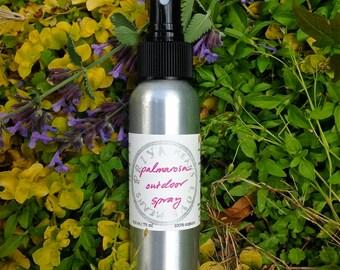 Palmarosa Outdoor Spray - a DEET-free organic + all-natural essential oil body spray to enhance time spent outdoors! (2.5 oz aluminum spray)