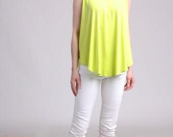 Sleeveless Swing Top, Neon Top, Loose Summer Top, Flare Top, Yellow Jersey Top, Yellow Summer Top, Over Skinny Jean Top - Neon Yellow