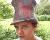 Felted Top Hat - Multicoloured Nuno Felt Patchwork Seamless Mad Hatter - UNISEX