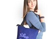CHRISTMAS SALE-40% OFF - Hand felted wool handbag - Blue Lizard