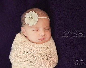 Baby Girl Ivory Headband...Tiny Ivory Flower on a skinny elastic White Headband...Newborn Headband
