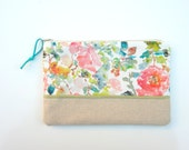 Roses Original Design on Cosmetic Pouch, Make Up Bag, Watercolor Floral Pouch
