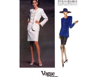 80s YVES SAINT LAURENT Jacket Skirt Pattern Vogue Paris Original 1083 Vintage Sewing Pattern Sizes 8 10 12  Uncut Factory Folds