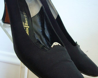 1960s Black Heels / Pumps / Rhinestone Trim / Stix Baer & Fuller / Formal Shoes / Size 8