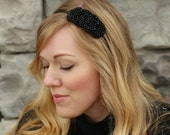 Black Beaded Headband for Adults and Women