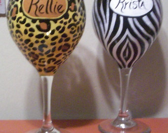 One PERSONALIZED Animal Print Wineglass  Hand-painted Wine Glass Choice of Leopard Tiger Giraffe Zebra by Lisa Hayward
