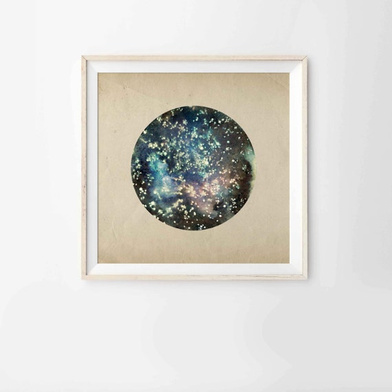 "Modern 8"" x 8"" Print from my original mixed media illustration - Deep Space"