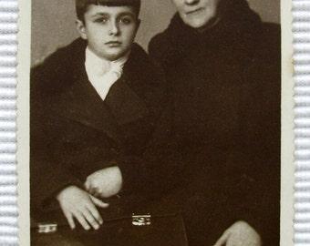 Vintage Photograph - Woman & Young Boy