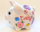 Piggy Bank Pink and Lavender Flowers with Butterflies Personalized
