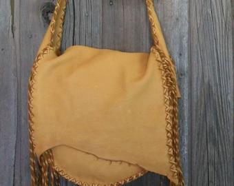 Fringed leather handbag , Large leather purse , Crossbody bag