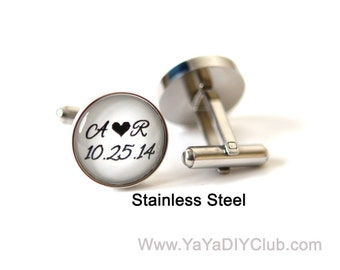 Wedding Gift for Groom, Grooms Gift, Personalized Wedding Cufflinks, Wedding Day Cufflinks Custom Wedding date, Stainless Steel Cufflinks