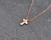 Rose Gold Cross Necklace, 0.999 PURE FINE silver cross with 14k rose gold plating necklace on rose gold filled chain, pink cross necklace