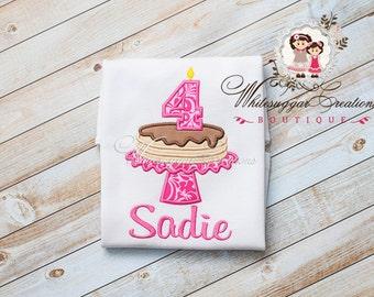 Baby Girl Pancake Birthday Shirt - Custom First Pancake Birthday Party - Pink Damask Pancake Shirt - Pancake Birthday