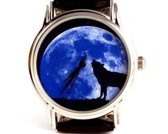 Moon wolf watch wristwatch