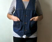 Vintage Denim Vest - Men's Jean Vest - Unisex Halloween Costume