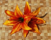 Amazing top quality double lily hair flower in bright orange and yellow very detailed pin up rockabilly wedding bride hairpiece fascinator