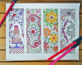Wedding Coloring Page, Wedding Activity Sheet for Kids - Zentangle Bookmarks to Print - Digital Download, Doodle Art, Wedding Activity