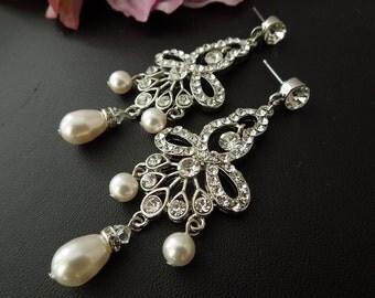 Bridal pearl Earrings bridal earrings Wedding Pearl Earrings Bridal Rhinestone Earrings Chandelier earrings swarovski pearl earrings  PIRIS