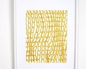 Screen printed art on paper. paper. fun. happy art. 11x14. sparkly yellow and gold loopy things. cool pattern.