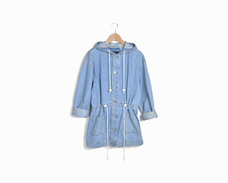Vintage 90s Denim Anorak Drawstring Jacket Women S M