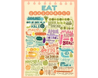 A3 Art Print - 'Eat Seasonally' - Digital Print / Hand Lettering / Typography / Illustration