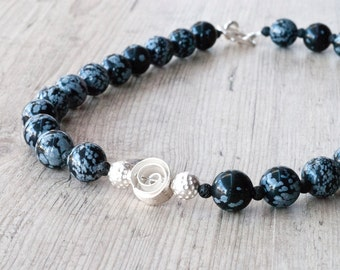 Snowflake Obsidian Necklace, Obsidian and Lava Black Statement Necklace, Black and White Gemstone Designer Necklace, Obsidian Jewelry
