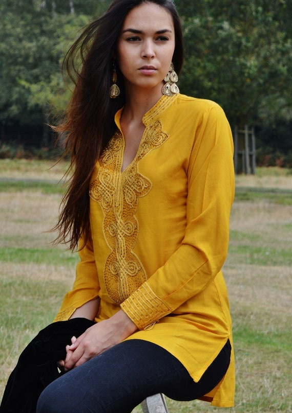 Dark Yellow  Moroccan Bedouin Tunic- tunic, shirt, moroccan shirt, resort wear, lounge wear, beach wear, handmade tunic