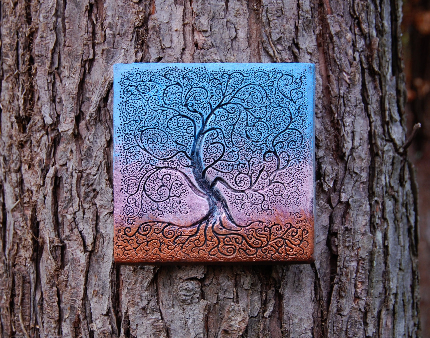 Tree of life gift outdoor wall art sunset art tree for Outdoor wall art