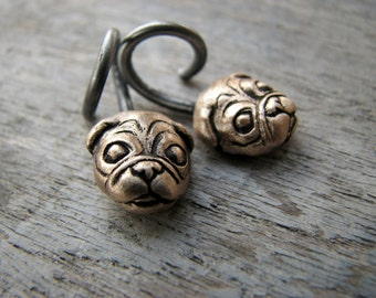 Pug earrings stretched piercings ear gauges 14 gauge 12 gauge