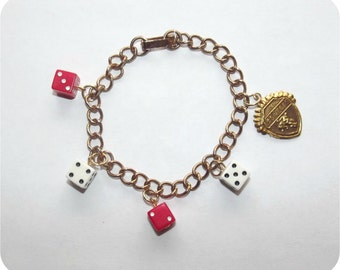 Vintage 50s Las Vegas Keepsake Bracelet   1950s Casino Theme Charm Bracelet   Casino Night   Dice Bracelet   Red & White Farkle Dice