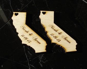 75 California Wedding Favors Custom Engraved