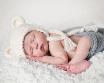 NEWBORN Hat, Baby Boy Hat, Baby Girl Hat, Baby Boy Teddy Bear Hat, Boy Hat, Cream Baby Hat, Newborn Photo Props, Kids, Baby Shower Gift.