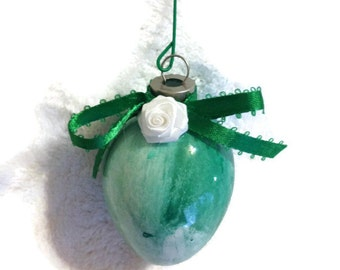 OOAK Handmade Painted Glass Ornament White and Green with Ribbon Rose