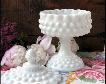 Fenton Hobnail Milk Glass Covered Pedestal Candy Dish / Wedding Candy Buffet