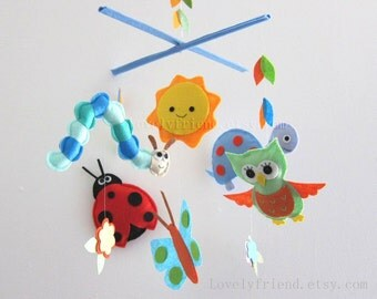 """Baby Mobile - Nursery Mobile - Nursery Baby room Decor - """"Little Happy Bugs """" Mobile  (Custom Color Available)"""