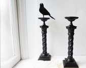 """Pair Large Vintage Candle Holders - Black Table Centerpiece - Dilly 14"""""""