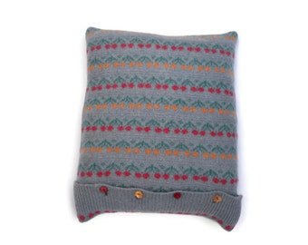 Wool cushion cover ,  Grey pillow in flower design ,  Recycled 100% felted grey wool pillow , Clearance sale , reduced price